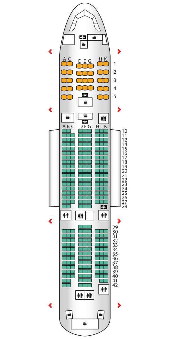 Die vier Türen links und rechts, in ihrer Bezeichnung durchnummeriert von vorne bis hinten mit 1 bis 4 sind in diesem Bild als kleine rote Häkchen dargestellt.