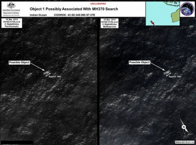 Object 1 (Größe etwa 24m), identified by Australia on Mar 20th at S44.05 E90.96, Sat image taken Mar 16th (Photo: AMSA)