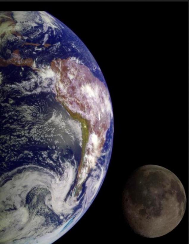 Diese Erde-Mond Konjugation entstand beim zweiten Galileo Flyby. Copyright: NASA