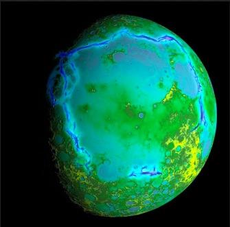 Die etwas schräge Farbgebung unseres Trabanten zeigt seine Topografie. Sie wurde aus Daten erstellt, die mit dem Lunar Orbiter Laser Altimeter an Bord des Lunar Reconnaissance Orbiter der NASA erfasst wurden.  Foto: NASA/Colorado School of Mines/MIT/GSFC/Scientific Vis