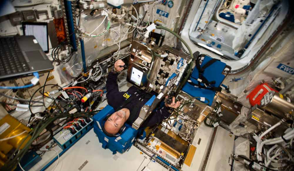 ESA astronaut Luca Parmitano performs a European experiment called GRIP that studies astronauts' perception of of mass and movement and how they interface with the human body and change in microgravity.